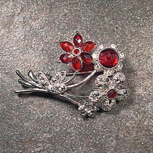 vintage acrylic rhinestone floral brooch VJP-003